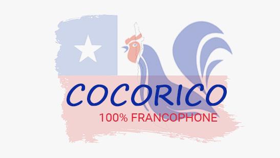 cocorico emission représentée par un coq et le drapeau chilien